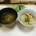 鱧と万願寺の炊きこみご飯・なめこ汁・漬物